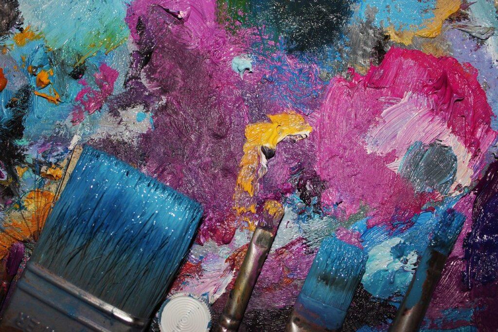 paint, brush, multi color