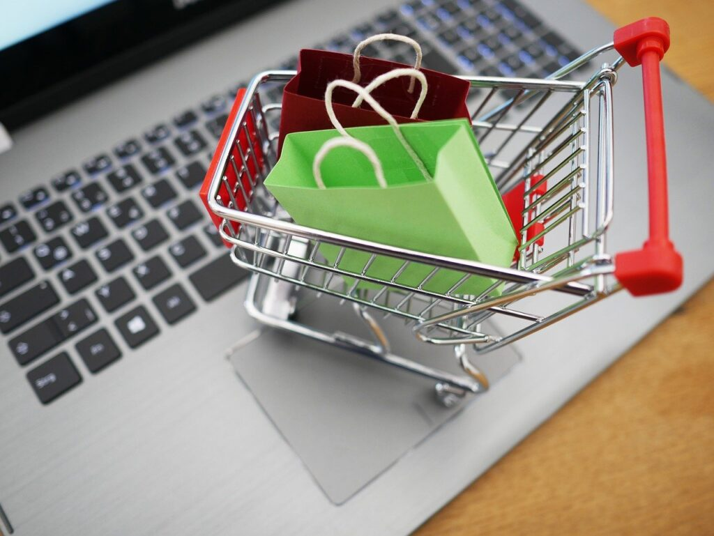 shopping cart, shopping, laptop